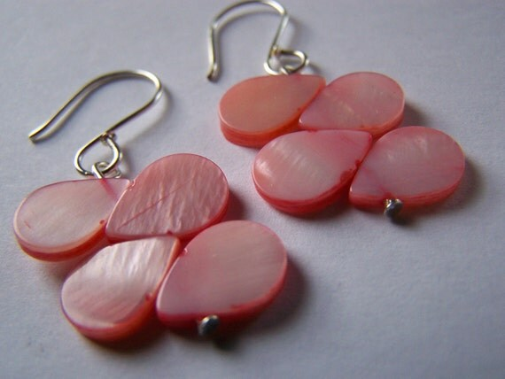 HE LOVES ME. Mother of Pearl Earrings - A beautiful gift for everyday wear or bridesmaids and weddings