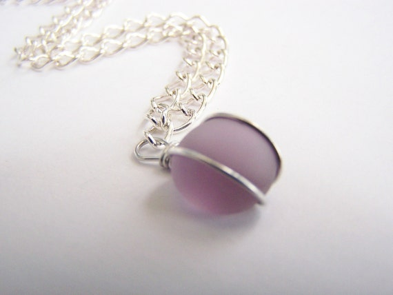Lilac Sea Glass Necklace: FREE SHIPPING with another item - affordable gifts - bridesmaids - weddings - other colors - holidays