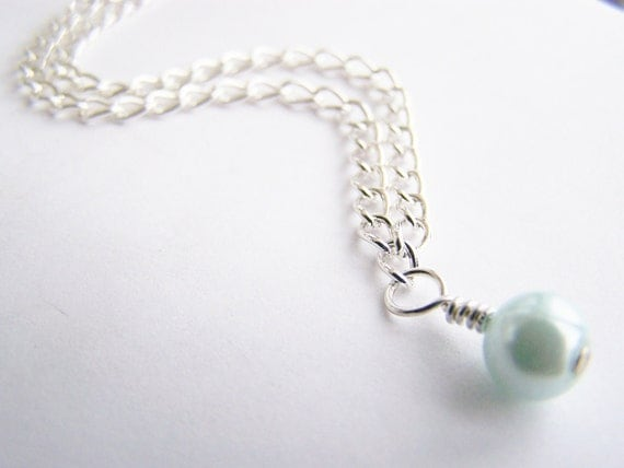 Last One - Tiffany Blue Glass Pearl Necklace - Matching earrings also available