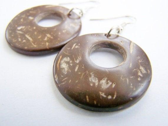 Natural Brown Coconut Hoop Earrings - beach jewelry - ocean inspired - unstained - sandy - beige - natural wood