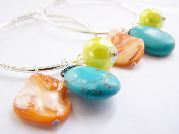 FREE SHIPPING with another item - Montego Bay - Interchangable charms on hoops - 4 in 1 Earrings: with several ways to wear