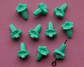 10 vintage plastic bill flower beads, teal blue - HP0001