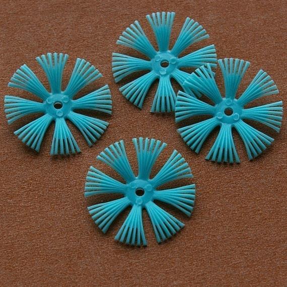 Vintage beads - 4 soft flexible plastic cornflower beads, teal blue