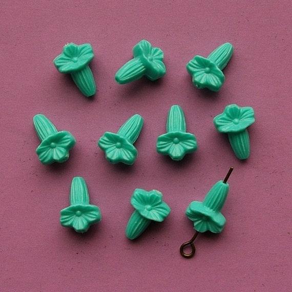 Vintage Beads 10 Plastic Bill Flower Beads Teal Blue