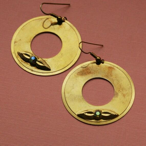 Round vintage earrings with rhinestones