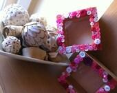 Button photo box frames, pink Buttons, wood frames, hand made.