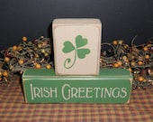 Irish Greetings primitive wood blocks