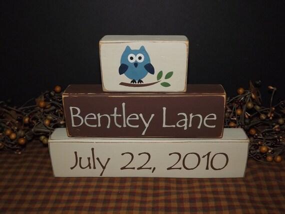 Owl custom personalized children's name wood blocks sign