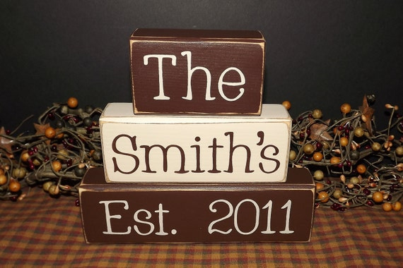 Custom Personalized Family Name Primitive Wood Blocks sign