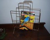 wired for read not speed - Vintage Gold Tone Wire Magazine Rack