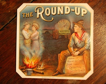 The Round-Up outer cigar label lithograph - early 1900's - Western - Cowboy Art  -- Ephemera