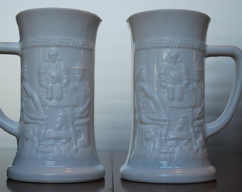 """Vintage Set of White Milkglass """"German Drinking Steins"""" - Tiara - 1970's - Barware - Retro Bar Decor - Drink- up :)"""