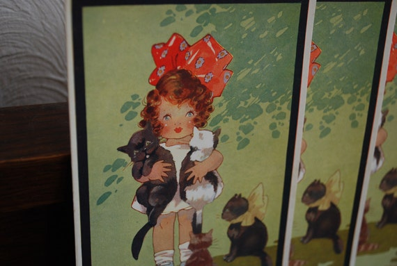 Signed Agnes Richardson - All Purrs. - unused lithograph post cards -- British Production -  Early 1900's