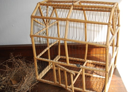 Vintage Bird Cage Wood And Wire Primitive