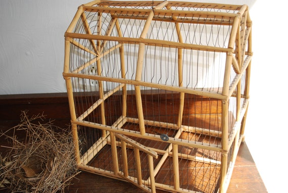 Vintage Bird Cage Wood And Wire Primitive By Retrovintagious