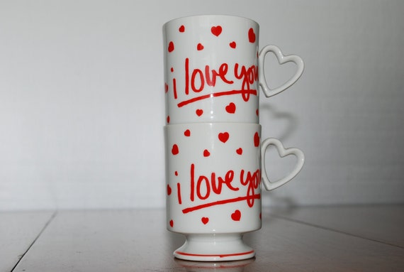 vintage coffee mugs - what a pair of sweethearts :) - Lefton - i love you - heart -  mugs -  1981