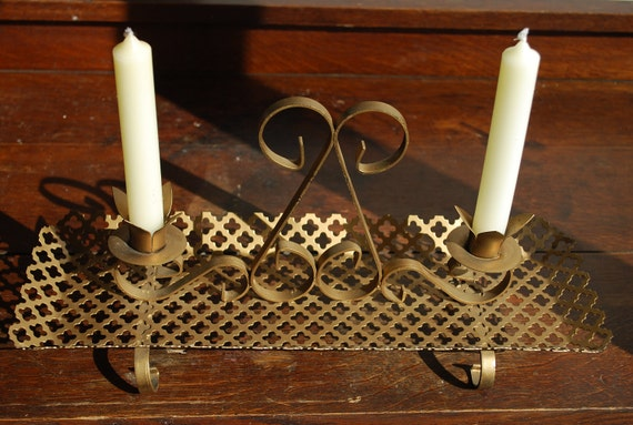 Vintage Hollywood Regency Double Metal Candle Holder - Mid Century - Mod - Centerpiece
