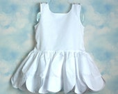 RESERVED : White Scalloped Twirl Dress for Halloween or Dress-up by Thread and Jam