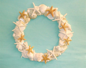 Beach Decor - Shell Wreath with Starfish - coastal decor coastal style seashells sea shells star