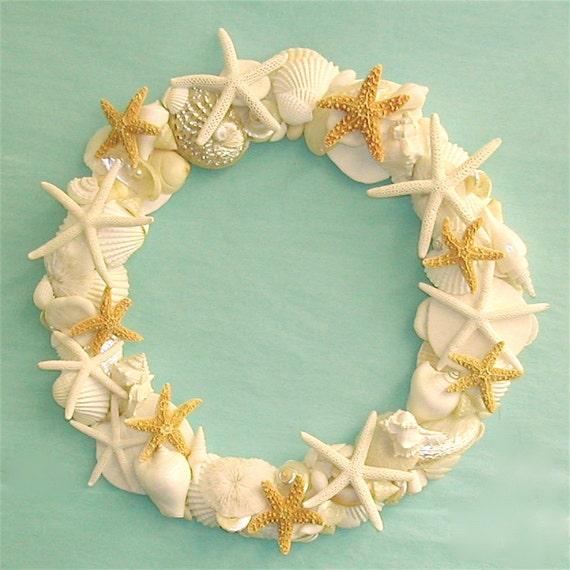 Beach Decor - Shell Wreath with Starfish - 12-14 inch diameter