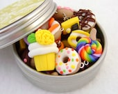 Tin of Assorted Goodies- Charms, Earrings, Pushpins, More