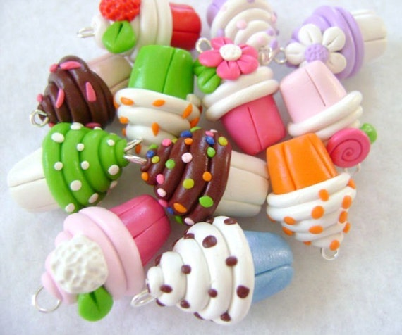 Colorful Polymer Clay Cupcake Charms