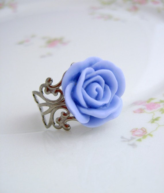 Blue Rose  Ring- Ladies Adjustable Ring