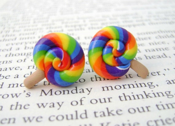 Colorful Polymer Clay Lollipop Earrings