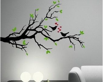 LOVE BIRDS on an olive TREE branch - Vinyl Decal Sticker Wall Art