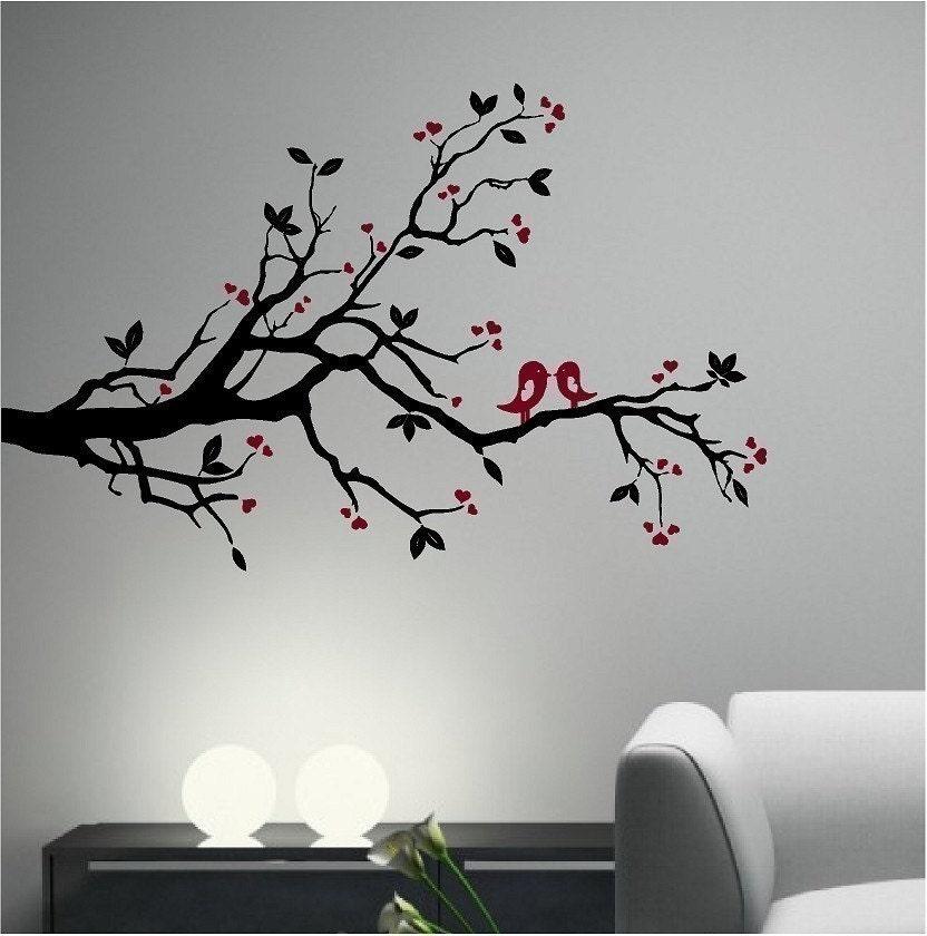 KISSING LOVE BIRD on a TREE BRANCH Vinyl Wall Decal Sticker