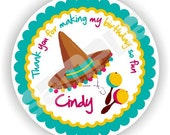 40 Thank You 2 inch circle Stickers - Birthday - Baby Shower - Envelope Seal - Address Label - Mexican Party Theme - Personalized