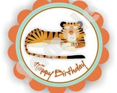 Grrrr Tigers Theme - 40 Die cut 2 inch circle Stickers with scalloped edges - Thank You - Birthday - Baby Shower - Personalized