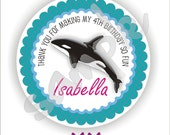 40 Thank You 2 inch circle Stickers - Birthday - Baby Shower - Envelope Seal - Address Label - Orca Killer Whale Theme - Personalized