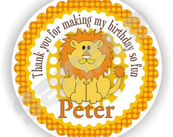 40 Thank You 2 inch circle Stickers - Birthday - Baby Shower - Bridal Shower - Envelope Seal - Address Label - Lion Theme - Personalized