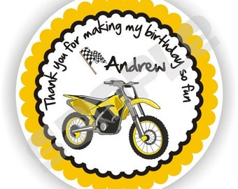 40 Thank You 2 inch circle Stickers - Birthday - Baby Shower - Envelope Seal - Address Label - Motorcycle Theme - Personalized