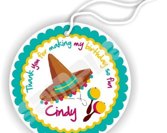 24 Thank You 2.25 inch circle Tags - Birthday - Baby Shower - Bridal Shower - Thank You - Fiesta Theme - Personalized