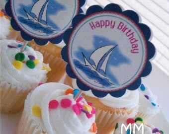 Boat Theme - 20 Cupcake Toppers - Personalized - Birthday - Baby Shower - Choose the design