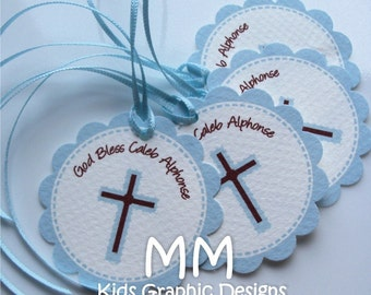 100 Thank You 2inch circle Tags with scalloped edges - Communion Favor Tags - Baptism Favor Tags - Thank You - Personalized Tags
