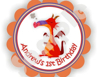 Dragon Theme - 40 Die cut 2 inch circle Stickers with scalloped edges - Thank You - Birthday - Baby Shower - Personalized