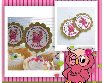 Birthday Favor Tags - Cupcake Toppers - Owl Theme - Baby Shower Custom Package - Set of 20
