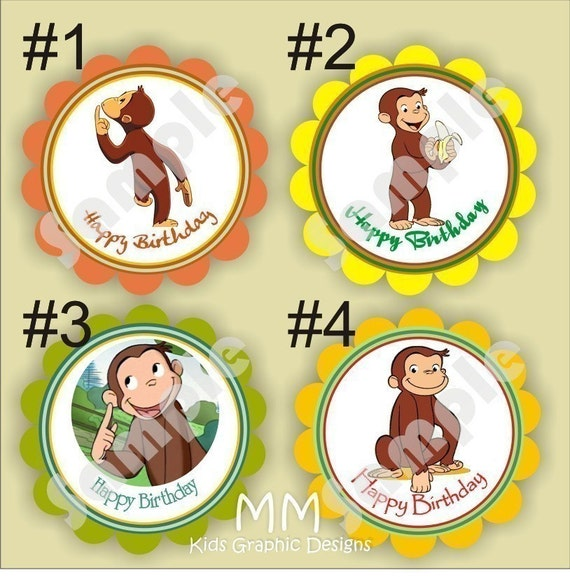 Curious George Theme - 20 Die cut 2 inch circle Stickers with scalloped edges - Choose your design - Thank You - Birthday - Baby Shower - Personalized