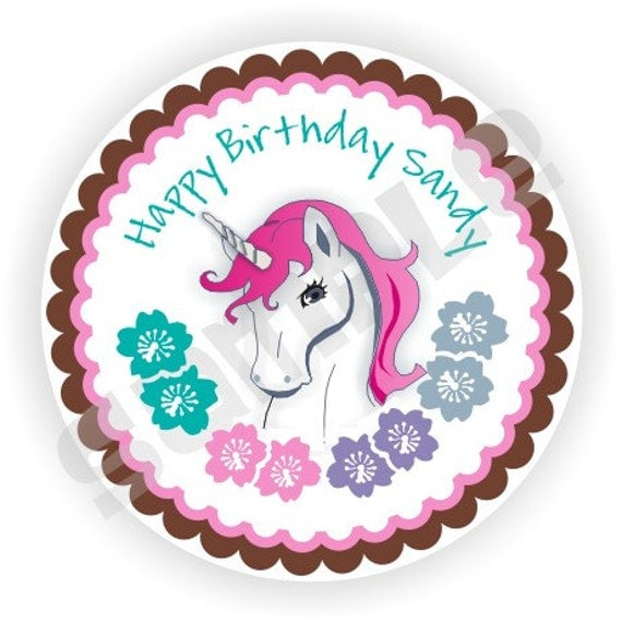 40 Thank You 2 inch circle Stickers - Birthday - Baby Shower - Bridal Shower - Envelope Seal - Address Label - Unicorn Theme - Personalized