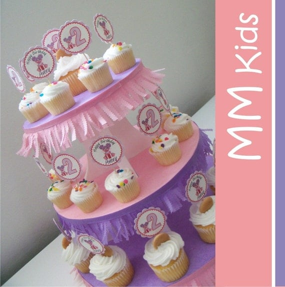 Decorated Cupcake Stand - Choose your color