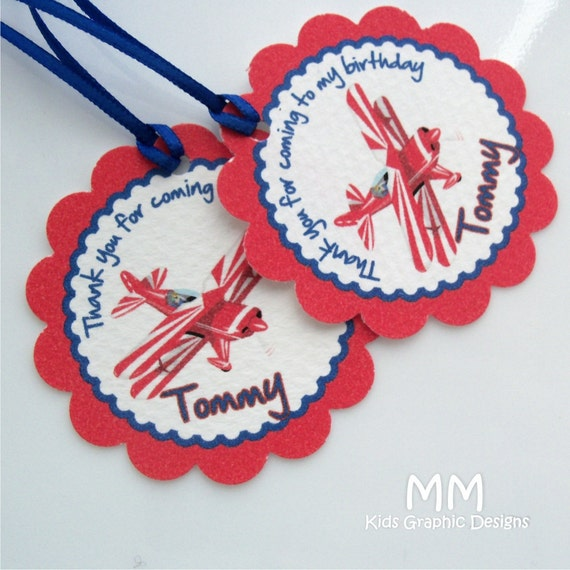 Airplane Birthday Party Favor Tags: 40 Thank You 2inch Circle Tags With Scalloped Edges
