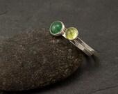 Stacking Ring Set- Green Stone Rings- Stacking Rings- Silver Stone Rings- Peridot Ring, Aventurine Ring- your size