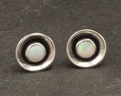 Opal Earrings- Opal Stud Earrings- October birthstone- Silver Opal Earrings- Sterling Silver Studs- Opal Post Earrings- birthstone earrings