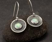 Opal Earrings- Sterling Silver Earrings- Silver Dangle Earrings- Silver Disc earrings with opal gemstones