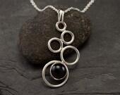 Handmade Sterling Silver Necklace- Black Onyx Necklace- Silver Necklace with Black Stone- Pendant Black Onyx- Silver Jewelry