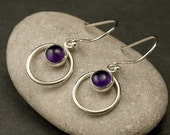 Amethyst Earrings- Purple Stone Earrings- Silver Hoop Earrings- Amethyst Dangle Earrings-  February Birthstone- Silver Jewelry