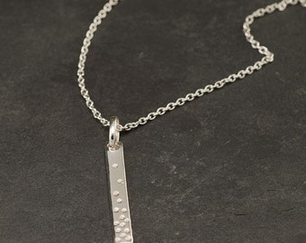 """Silver Bar Necklace- Long Necklace- Layering Necklace- Long Silver Bar Necklace- Handmade Sterling Silver Layer Necklace """"Dotted Line"""""""